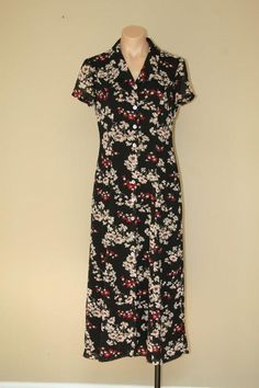 Midi Button Front 90s Vintage Black Floral Boho Grunge Sheer Lined Dress sz 4 #EvanPicone