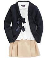 Nautica Little Girls' Uniform Peplum Shirt, Pleated Scooter Skirt & Bow Cardigan Chloe Fashion, Girl Fashion Style, Tween Fashion, Toddler Fashion, Toddler Outfits, Kids Outfits, Toddler School Uniforms, School Uniform Outfits, Kids Uniforms