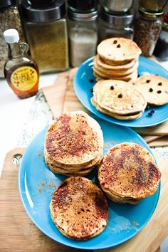 Recipes for vegan peanut butter pancakes, peanut butter snickerdoodle pancakes, and peanut butter chocolate chip pancakes. Posted on keepinitkind.com by Kristy and Chris.
