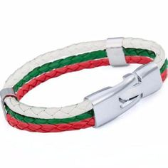 Bulgaria Flag World Cup Support Leather Bracelet Layered Bracelets, Braided Bracelets, Bracelets For Men, Silver Bracelets, Silver Jewelry, Silver Earrings, Leather Bracelets, Men's Jewelry