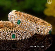 gold diamond and emerald broad bangles by PMJ jewels. Jewelry Design Earrings, Gold Earrings Designs, Jewellery Designs, Gold Jewelry, Gold Designs, Gold Bangles Design, Stylish Jewelry, Diamond Bangle, Diamond Jewellery