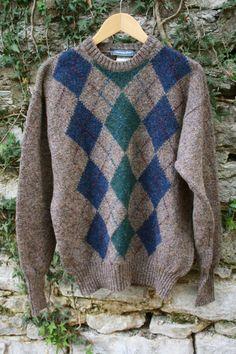 Multi Color Argyle Shetland Wool Sweater by flickaochpojke on Etsy, $35.00