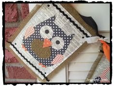Twigs and Twirls: Halloween Owl Burlap Banner Fall Banner, Holiday Banner, Pennant Banners, Bunting, Burlap Banners, Fall Crafts, Diy Crafts, Halloween Owl, Fall Decor