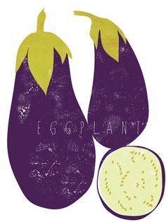 Eggplant graphic culinary art illustration by FowlerCreativeArts
