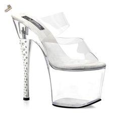 7 Inch Heel Stripper Shoes Clear Rhinestone Heel Slide Size: 9 - Summitfashions pumps for women (*Amazon Partner-Link)