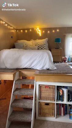 Small Room Design Bedroom, Girl Bedroom Designs, Room Ideas Bedroom, Small Bedroom Ideas For Teens, Small Teen Room, Loft Bed Room Ideas, Decorating Small Bedrooms, Cool Bedroom Ideas, Diy Room Ideas