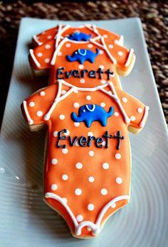 Super cute onsie cookies, great baby shower idea