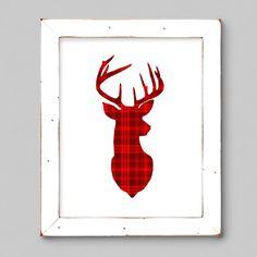 Holiday Printable:  Plaid Deer Silhouette by Fishtitch on Etsy  #christmas #deer #reindeer #printable