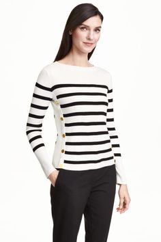 Jumper: Jumper in a soft rib knit with decorative buttons at the sides and long sleeves.