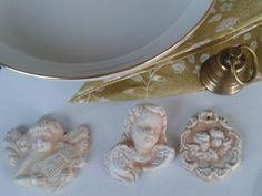Andělský vánoční setík dekorace vánoce zlatá bílá andělé andílci starobylý styl
