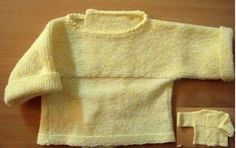 CHAPTER 14 - Knitting a beginner's level bra, in one piece. - The knitting workshop of Mam 'Yveline. Baby Knitting, Crochet Baby, Tricot Baby, Bebe Baby, Couture, Knit Cardigan, American Girl, Knitwear, Men Sweater