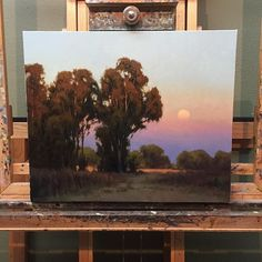New piece on the easel. Worked this one up from a small studio study and my photo reference of Gray Lodge Wildlife Refuge. This piece is a… Landscape Art, Landscape Paintings, Virtual Art, Nature Paintings, Nocturne, Tree Art, Painting Inspiration, Creative Art, Art Projects