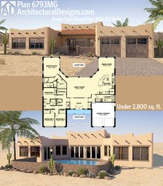 Architectural Designs Southwest Home Plan 6793MG looks great front and back. Ready when you are. Where do YOU want to build?