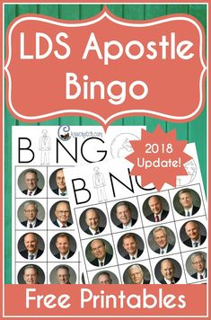 LDS Apostles Bingo (and Matching) — Chicken Scratch N Sniff General Conference Activities For Kids, Primary Activities, Activities For Boys, Primary Lessons, Indoor Activities, Summer Activities, Church Activities, Activity Day Girls, Activity Days
