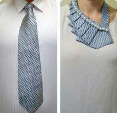 wear a male tie female version. sew plus add some beads.