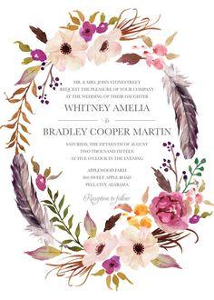 Bohemian Wedding Invitation Pink Magenta Blush by BettyLuPaperie