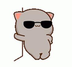 Cute Cartoon Pictures, Cute Anime Chibi, Dibujos Cute, Cartoon Memes, Kawaii Cute, Cat Gif, Animated Gif, Milk, Peach