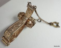 #Glove #Clip Holder Gold Tone Purse Accessory Rose Embossed Vintage Chain Hook  Unbranded