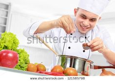 male chef cooking by odua. happy smiling male chef cooking in the kitchen Online Cooking Classes, Culinary Classes, Cooking A Roast, Cooking Turkey, Pastry School, Healthy Man, Pastry Art, Baking And Pastry, Gastronomia