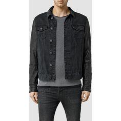 AllSaints Thomson Denim Jacket (17,100 INR) ❤ liked on Polyvore featuring men's fashion, men's clothing, men's outerwear, men's jackets, black, mens leather jacket and mens leather jean jacket
