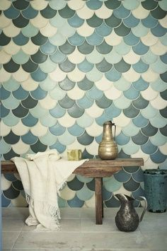 Moroccan bath tiles inspired by fish scalps! #Fishy #Tiling #Moroccan.