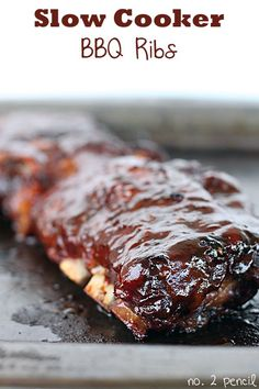 Slow Cooker BBQ Ribs Recipe. Definitely one of my all-time favorite recipes. Perfect for any cookout!