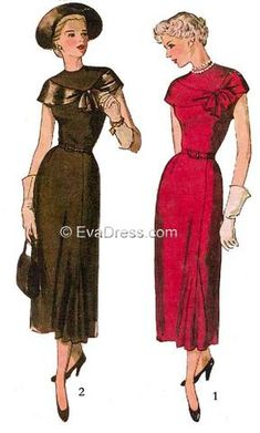 D40-2924; 1949 Dresses 9-piece hand-drafted pattern originally by Simplicity, 'The high-necked bodice, styled with a front yoke, has a bertha-like inset that ties at the left side. A slide fastener cl