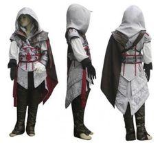 Boys Girls Kids Halloween Costume Anime Athemis Assassin's Creed II Cosplay Costume Assassins Creed Ezio Costume Clothes Sets
