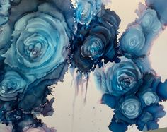 Original Alcohol Ink. Blue Roses. Abstract. #angiekaygallery #ngk #workingforartsupplies #alcohol_ink_ngk
