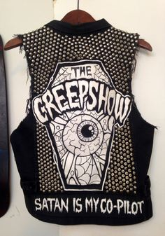 Custom Denim Studded Punk Rock Vest by LoveOfPunk on Etsy