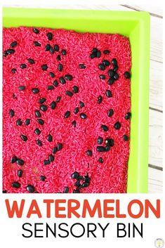 Easy rainbow rice recipe using watercolors for toddler or preschool age kids sensory bin play Watermelon Activities, Watermelon Crafts, Watermelon Day, Sensory Table, Sensory Bins, Sensory Activities, Toddler Activities, Sensory Play, Group Activities