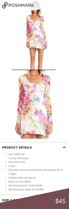 """Yumi Kim Ring my bell in whimsical garden dress 100% Silk. Gently worn. Does have 3 small snags that is pictured but hardly noticeable. Otherwise in good condition. Length: 33"""". Armpit to armpit: 17"""". Sleeve length: 22"""". No trades. Offers welcome. Yumi Kim Dresses Long Sleeve"""