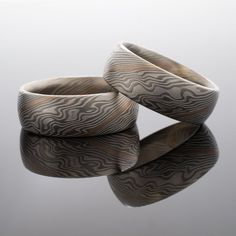 Mokume Gane Rings Matched Wedding Bands Woodgrain Pattern in Etched Ash Palette