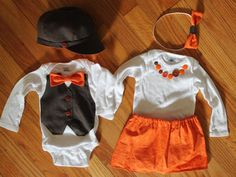 Autumn Boy / girl Baby Twin Dress up Fall Matching Halloween Sibling Outfits Thanksgiving