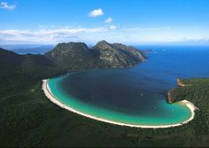 Wineglass Bay near Hobart, Tasmania, an island off the southern tip of Australia .