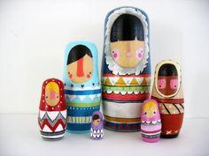 handmade wood folk art nesting dolls... wool sweater Eskimos. $250.00, via Etsy.