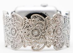 Apple Watch Band, Apple Watch Band 38mm, Apple Watch Band Silver, Silver Filigree Lace Band, Custom Fitted, Elastic by GirlTechFinds on Etsy https://www.etsy.com/listing/485125886/apple-watch-band-apple-watch-band-38mm