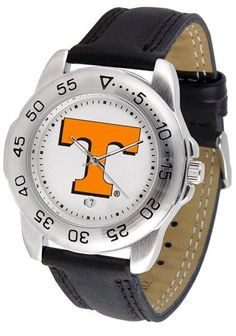 This handsome, eye-catching watch comes with a - genuine leather strap. - A date calendar function plus a - rotating bezel/timer circles the - scratch-resistant crystal. - Sport the bold, colorful, hi