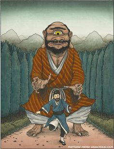 Hitotsume-nyūdō is a yōkai of Japan that has the appearance of an ōnyūdō that has only one eye [Hitotsume-nyūdō TRANSLATION: one-eyed priest HABITAT: roads and highways DIET: omnivorous; Japanese Mythology, Japanese Folklore, Magical Creatures, Fantasy Creatures, Fantasy Books, Fantasy Art, Japanese Urban Legends, Traditional Japanese Art, Japanese Style