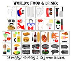 PRINTABLE Food Photo Booth Props–Chef Photo Props-Food Props-World's Food Photo Booth Props-Kitchen Photo Props-Pizza Props-Sushi Props-Fast Food-French Food Props-Italian Food-Food Photo Booth Sign-Mexican Food-Instant Download
