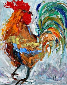 "Fine art Print 11"" x 14"" Rooster Dance - from oil painting by Karen Tarlton - impressionistic modern whimsical palette knife. $24.00, via Etsy."