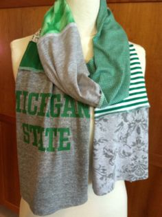 UPCYCLED t-shirt scarf... Michigan State University... MSU... Spartans... green, gray & white