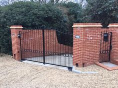 """Metal driveway gate with matching front garden gate from our """"Surrey"""" collection. Wrought Iron Driveway Gates, Metal Gates, Metal Railings, Side Gates, Entrance Gates, Gate Design, Garden Gates, Fences, Outdoor Decor"""