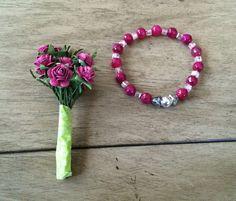 Raspberry Agate Gemstone Stretch Bracelet by ASapphireSpirit