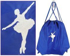 Ballerina Ballet Dancer White Monogram Bag Blue Cinch Backpack Competition Team #PortAuthority #TotesShoppers