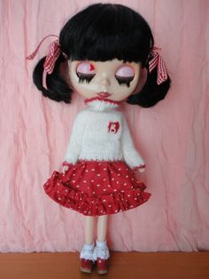 Hand Made Sweater and Skirt Set for Blythe by Dollfashionmall