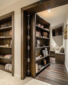 I definitely need a hidden bookcase door to my next man cave...or media room...or study... Image via: Pinterest  #architecture #homedesign #lifestyle #style #buildingdesign #landscapedesign #conceptdesign #interiors #decorating #interiordesign