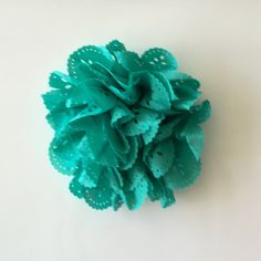 """ONE 3""""  Large Turquoise Eyelet Fabric Flower-Applique-hairbow supplies-diy wedding-crafts-scrapbook-headband supplies-wholesale Flowers-Bulk by BBBSupply on Etsy"""