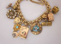 repurposed charm bracelets | Old Antique Charm Bracelet with Watch Fob Locket, and Victorian Charm ...