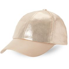 C-Lective Shimmery Faux Leather Baseball Cap ($13) ❤ liked on Polyvore featuring accessories, hats, metallic, baseball hats, faux leather baseball cap, faux-fur hat, ball cap hats and ball cap